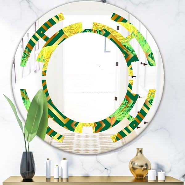 Designart 'Tropical Gold Luxury Pattern II' Modern Round or Oval Wall Mirror - Space