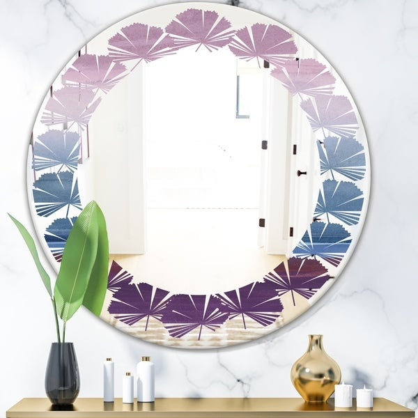 Designart 'Purple Rock Landscape III' Modern Round or Oval Wall Mirror - Leaves