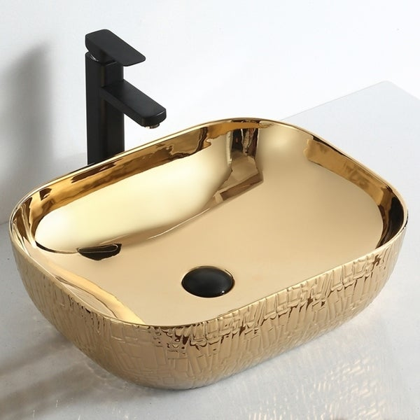 """Thena """"Imperial Jewel Collection"""" Gold Vessel Sink. Opens flyout."""