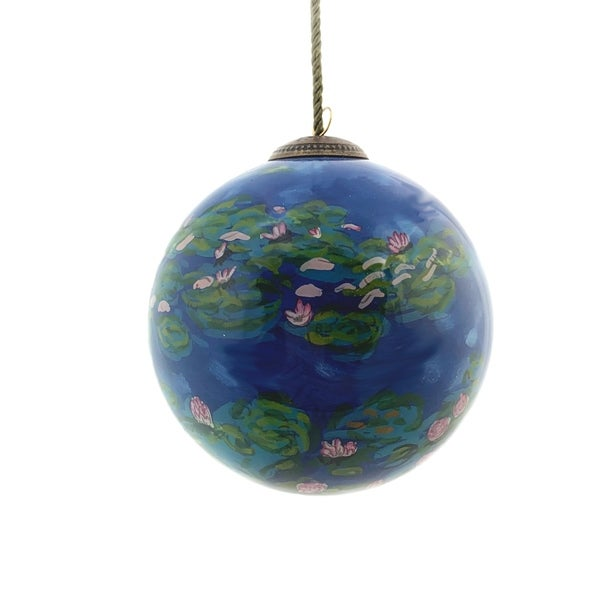 overstockArt Water Lilies Hand Painted Glass Ornament. Opens flyout.