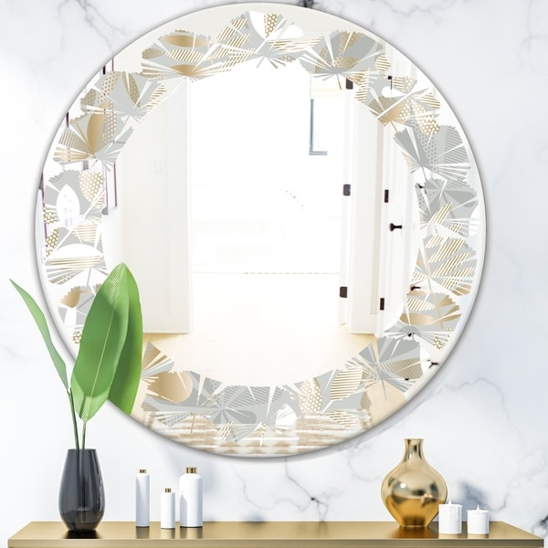 Designart 'Golden Tropical Pattern VIII' Modern Round or Oval Wall Mirror - Leaves