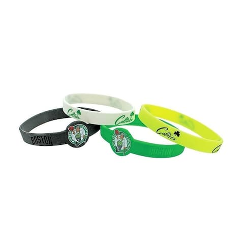 Aminco NBA Boston Celitics Sports Team Logo Bracelet Rubber Wrist Fan Band - 4 Pack