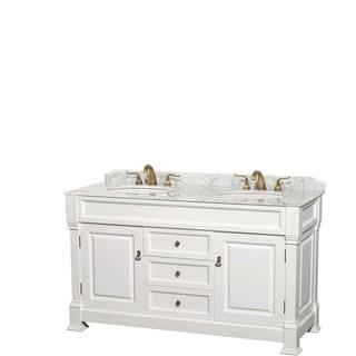 Andover 60-Inch Double Vanity, Carrara Marble Top,Oval Sinks,No Mirror