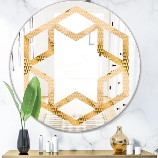Designart 'Golden Triangular Wavess I' Modern Round or Oval Wall Mirror - Hexagon Star