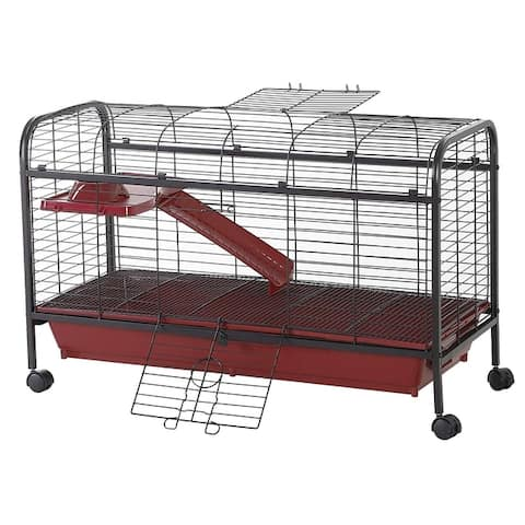 """PawHut 42"""" Metal Wire Small Animal Pet Cage with Wheels"""