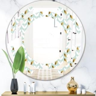 Designart 'Golden Foliage X' Modern Round or Oval Wall Mirror - Space
