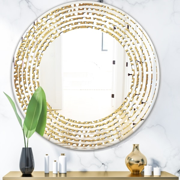 Designart 'Golden Maze' Modern Round or Oval Wall Mirror - Wave