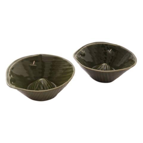 Handmade Rounded Bananas Stoneware Ceramic Bowls, Set of 2 (Indonesia)