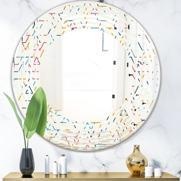 Designart 'Abstract geometric background. pattern.' Modern Round or Oval Wall Mirror - Wave