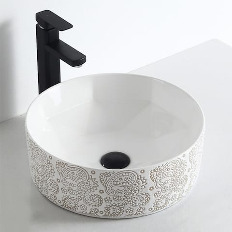 "Calle ""Cotton White Plus Collection"" Vitreous China Vessel Sink"