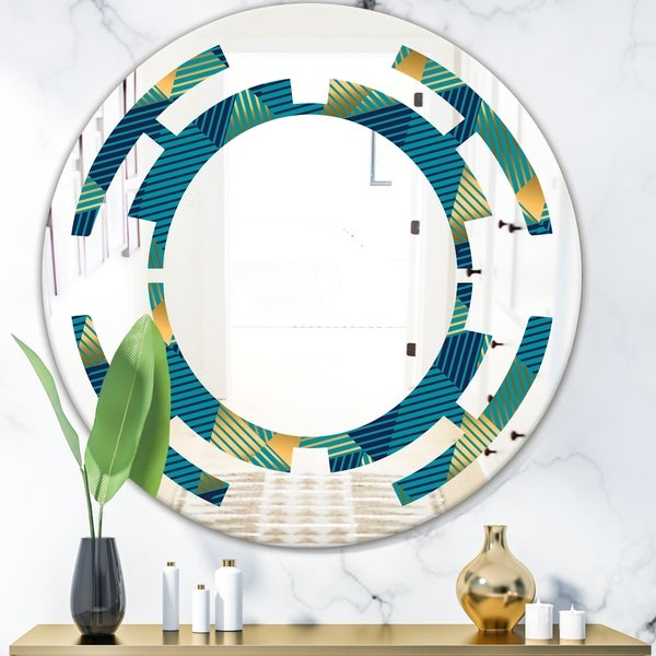 Designart 'Retro Luxury Waves In Gold and Blue VII' Modern Round or Oval Wall Mirror - Space