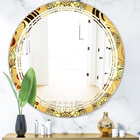 Designart 'Golden Luxury Pattern I' Modern Round or Oval Wall Mirror - Triple C
