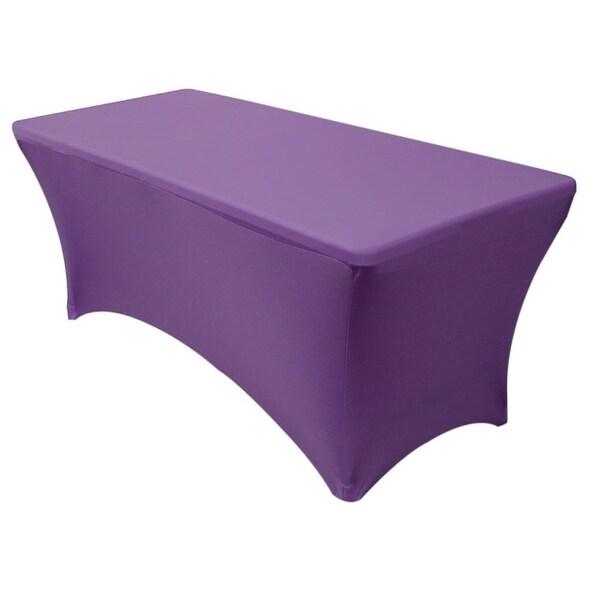 "Stretch Spandex Rectangular Tablecloths 6 Foot (72"" x 30"") Purple"