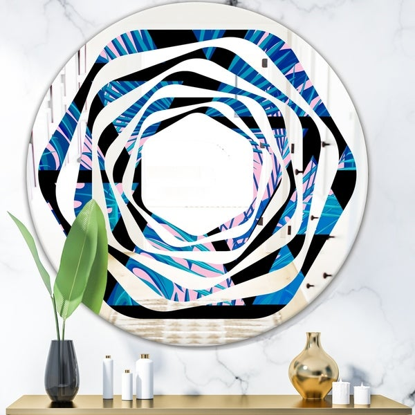 Designart 'Retro Floral Pattern XIV' Modern Round or Oval Wall Mirror - Whirl