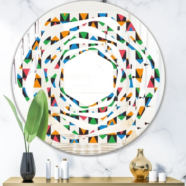 Designart 'Retro Ornamental Design II' Modern Round or Oval Wall Mirror - Whirl