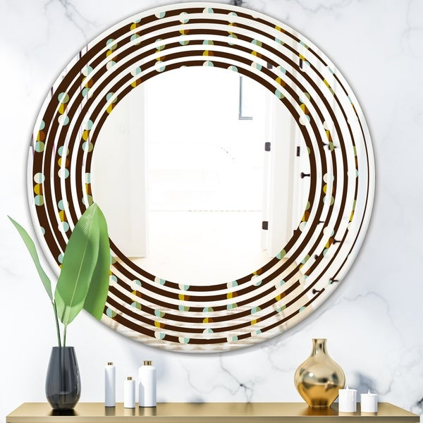 Designart 'Geometric Mod Dots' Modern Round or Oval Wall Mirror - Wave