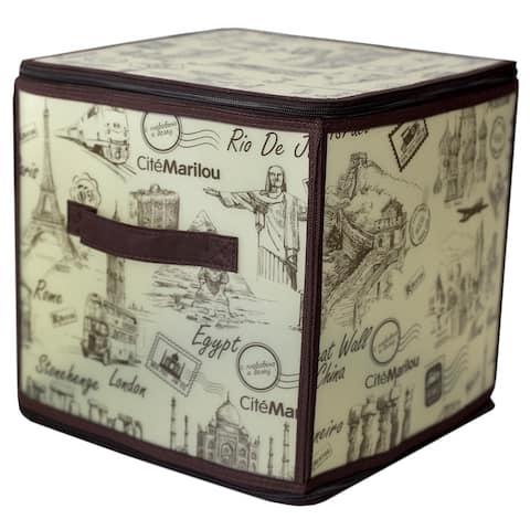 "Cities 11"" x 11"" Zippered Plastic Storage Box"