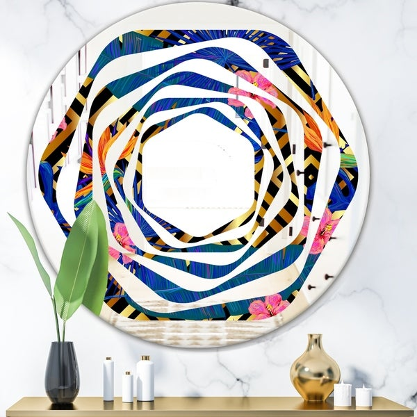 Designart 'Abstract Retro Design IV' Modern Round or Oval Wall Mirror - Whirl