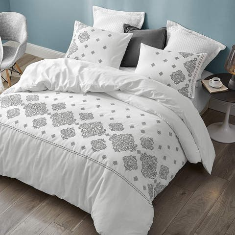 Phineas Gray Embroidered Oversized Comforter