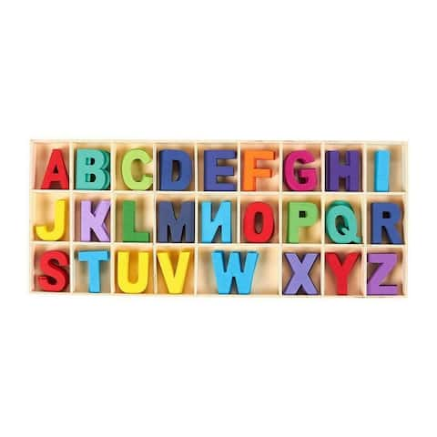 130 pcs Wooden Alphabet Letters Assorted Colored Craft Letters with Storage Tray