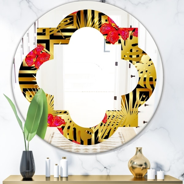 Designart 'Tropical Gold Luxury Pattern I' Modern Round or Oval Wall Mirror - Quatrefoil