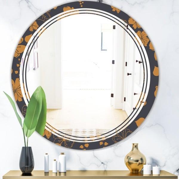Designart 'Retro Handdrawn Poppies II' Cottage Round or Oval Wall Mirror - Triple C