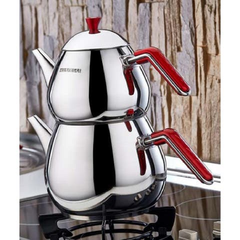 DiscountWorld Timac Stainless Steel, Turkish Teapot for 3 people, 2.8 qt