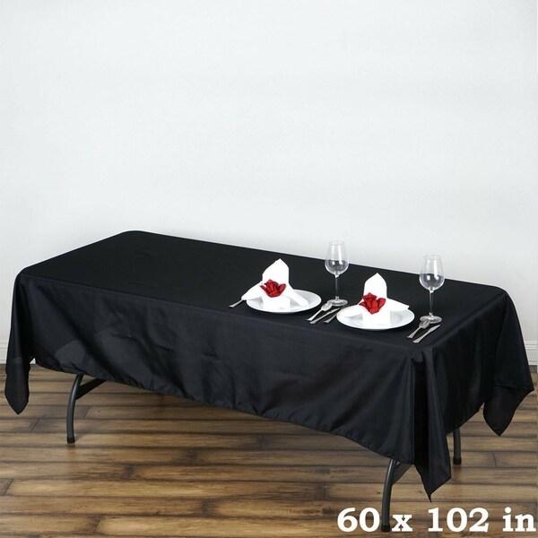 "5 Piece Set Polyester Rectangle Tablecloths 60"" x 102"" Black"