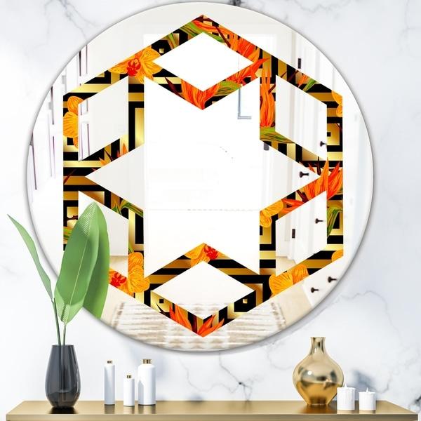 Designart 'Tropical Gold Luxury Pattern III' Modern Round or Oval Wall Mirror - Hexagon Star