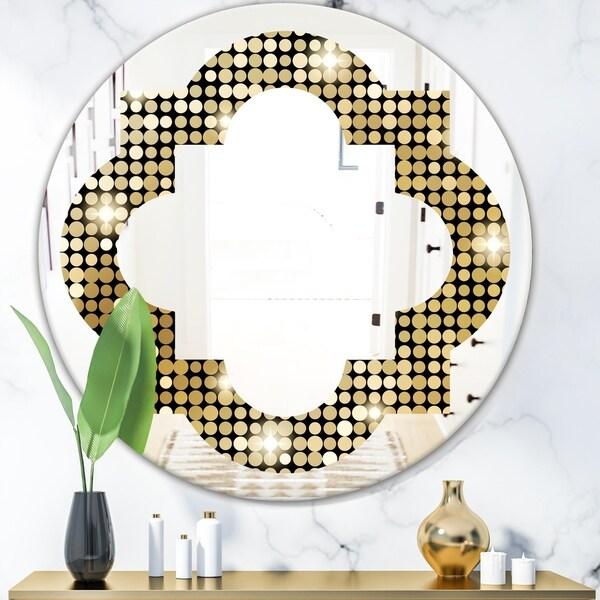 Designart 'Abstract Gold Mosaic' Modern Round or Oval Wall Mirror - Quatrefoil