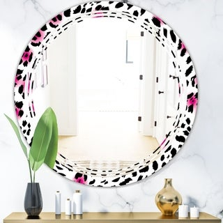 Designart 'Glam Leopard Pattern' Modern Round or Oval Wall Mirror - Triple C