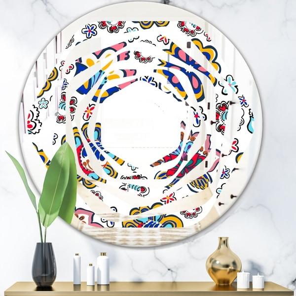 Designart 'Retro handdrawn flowers II' Modern Round or Oval Wall Mirror - Whirl - Multi