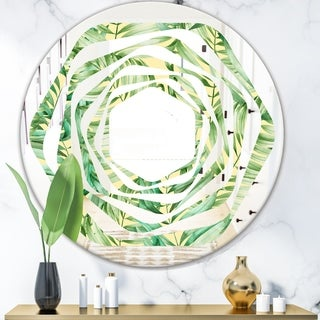 Designart 'Tropical Retro Foliage' Modern Round or Oval Wall Mirror - Whirl
