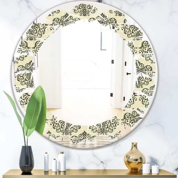 Designart 'Abstract Design Retro Pattern III' Modern Round or Oval Wall Mirror - Leaves