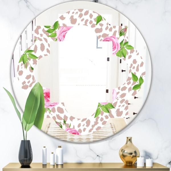 Designart 'Leopard Fur Safari IV' Modern Round or Oval Wall Mirror - Quatrefoil