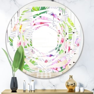 Designart 'Tropical Botanicals and Flowers VI' Modern Round or Oval Wall Mirror - Whirl