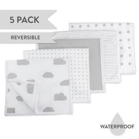 Waterproof Reversible Jersey Cotton Burp Cloths-5 pk-Grey