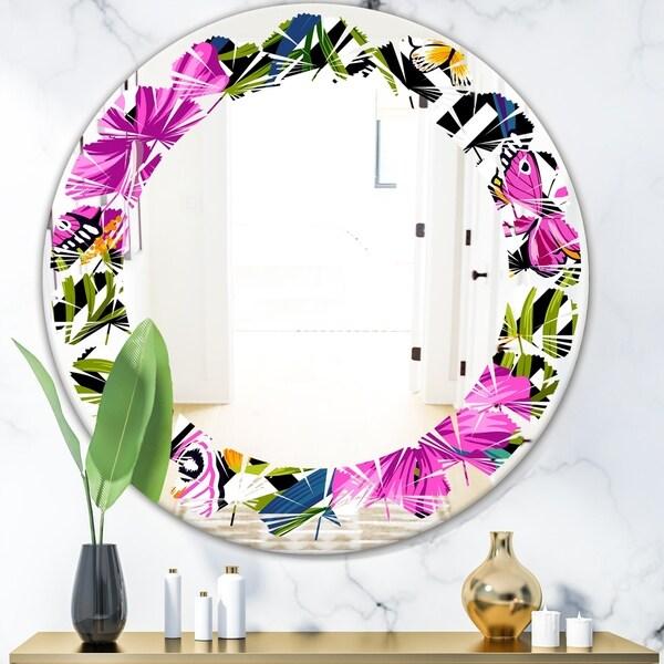 Designart 'Tropical Foliage and Geometrics' Modern Round or Oval Wall Mirror - Leaves - Multi