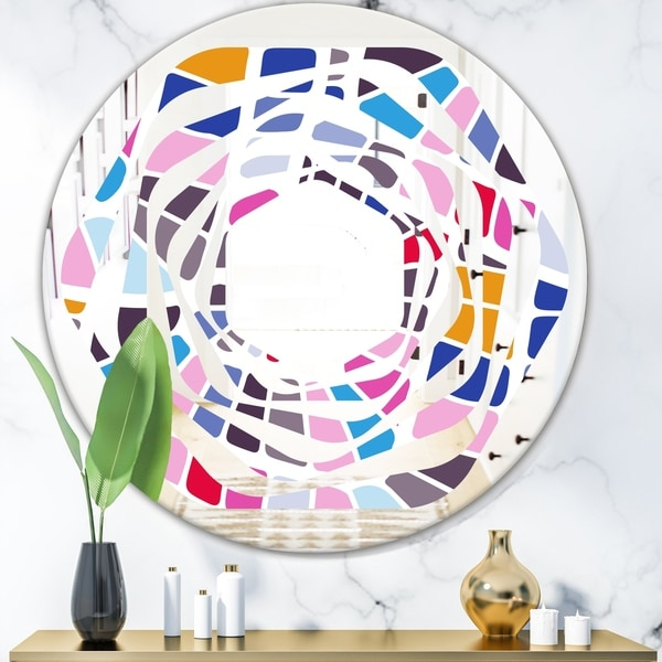 Designart 'Abstract Retro Geometric Pattern I' Modern Round or Oval Wall Mirror - Whirl - Multi