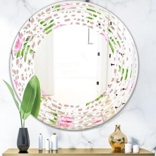 Designart 'Leopard Fur Safari IV' Modern Round or Oval Wall Mirror - Wave