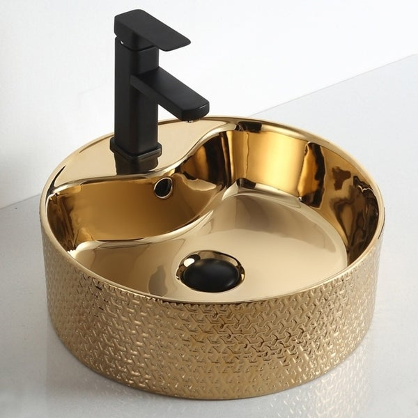 """Thea """"Imperial Jewel Collection"""" Gold Vessel Sink. Opens flyout."""