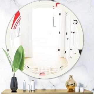 Designart 'Triangular Retro Design III' Modern Round or Oval Wall Mirror - Triple C