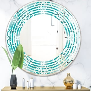 Designart 'Retro Turquoise Pattern' Modern Round or Oval Wall Mirror - Wave