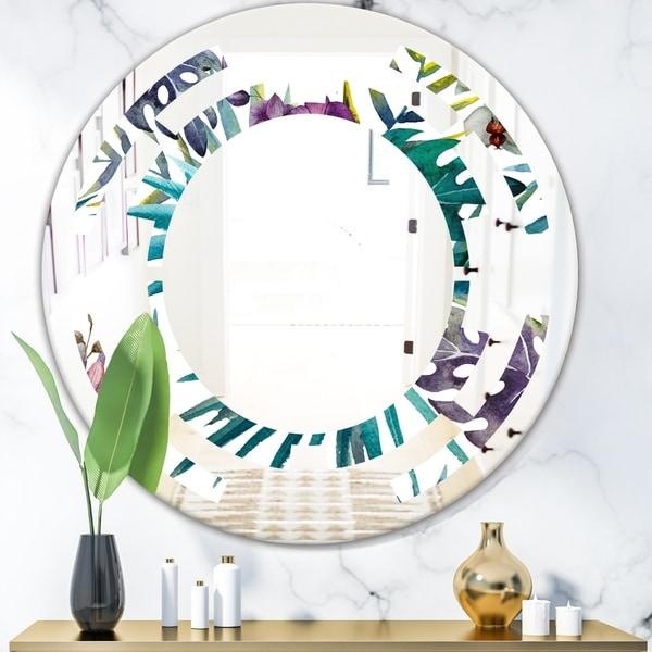 Designart 'Retro Floral Botanical Design II' Modern Round or Oval Wall Mirror - Space - Multi