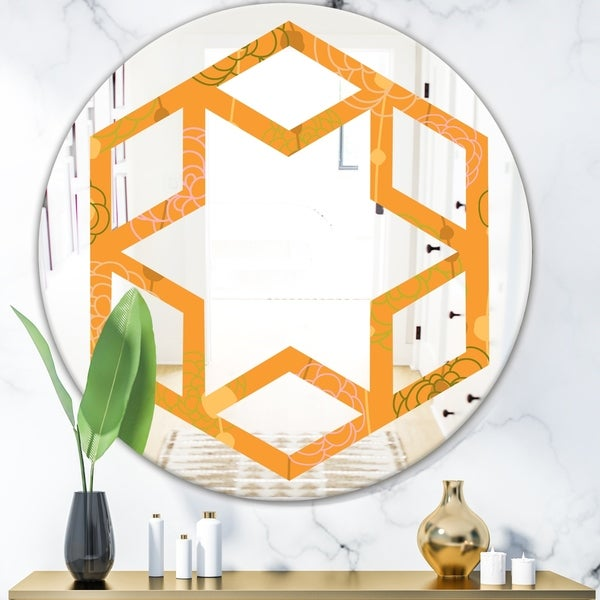 Designart 'Retro handdrawn flowers III' Modern Round or Oval Wall Mirror - Hexagon Star