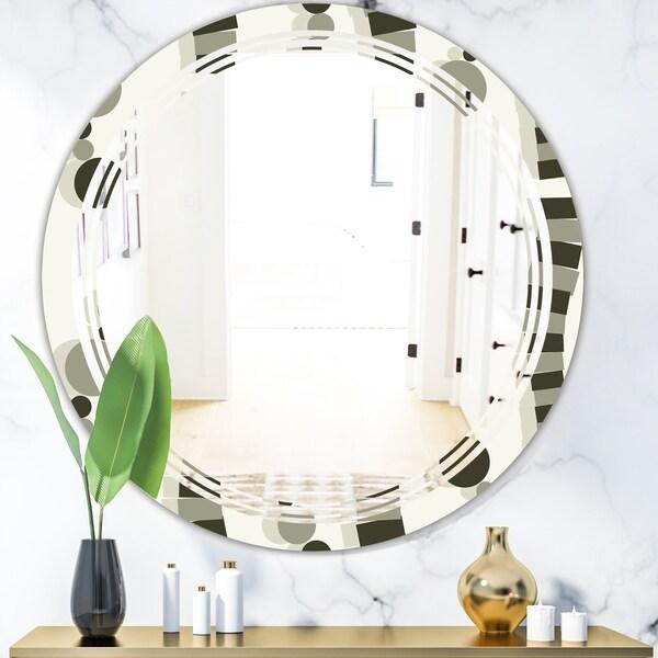 Designart 'Monochrome Geometric Pattern VI' Modern Round or Oval Wall Mirror - Triple C