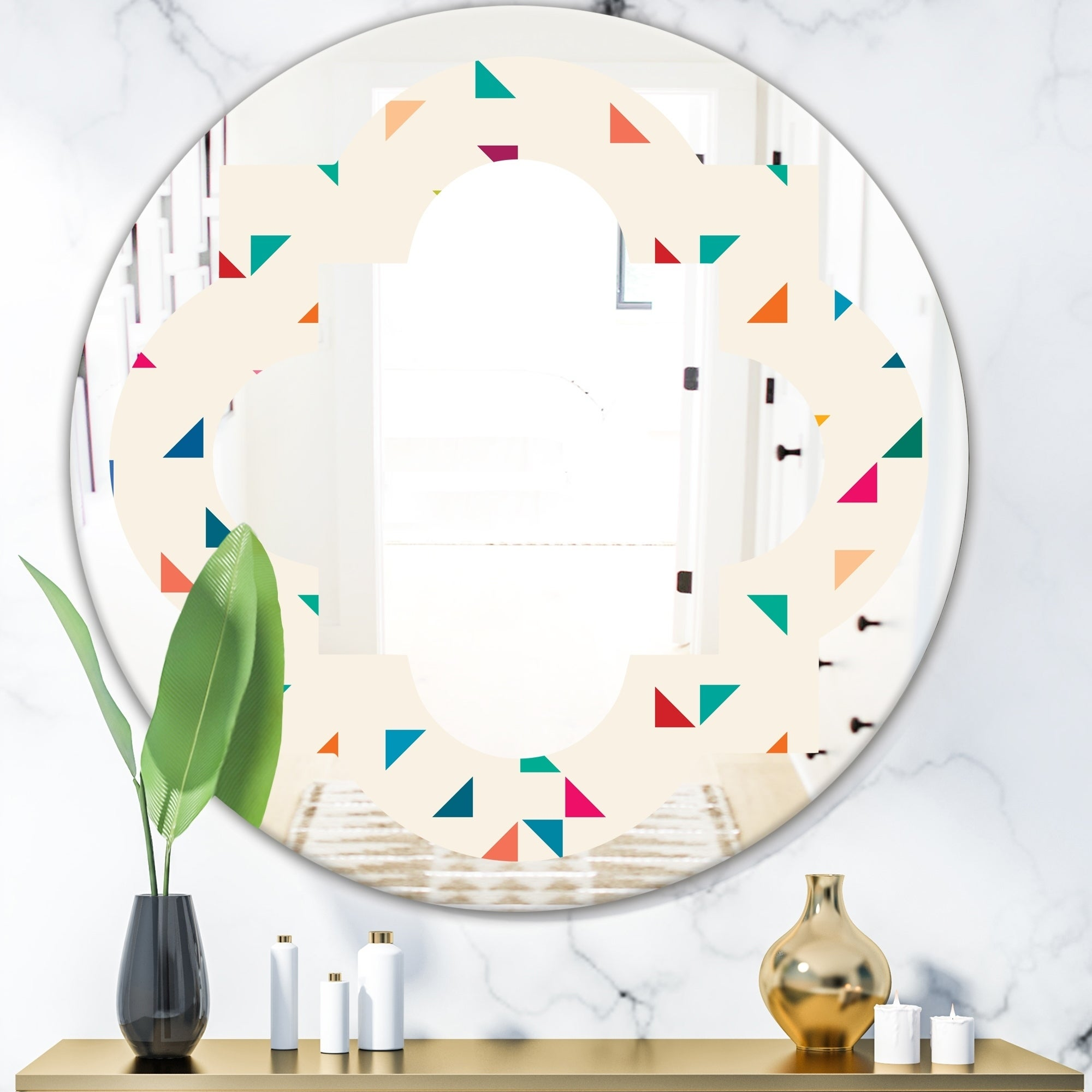 Designart Abstract Triangular Retro Pattern I Modern Round Or Oval Wall Mirror Quatrefoil Multi On Sale Overstock 29840323