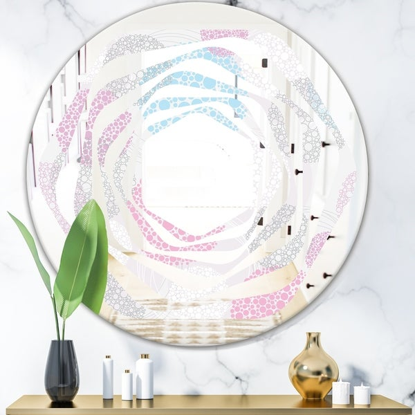 Designart 'Circular Abstract Retro Geometric III' Modern Round or Oval Wall Mirror - Whirl