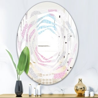 Designart Circular Abstract Retro Geometric Iii Modern Round Or Oval Wall Mirror Whirl 20 In Wide X 30 In High Sportspyder