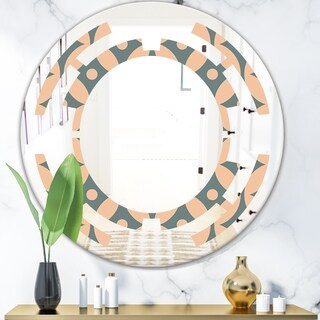 Designart 'Retro Pattern Abstract Design IV' Modern Round or Oval Wall Mirror - Space